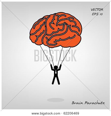 brain parachute with businessman