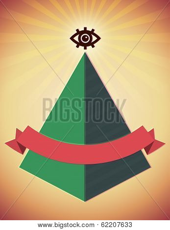 Retro poster with all seeing eye and pyramid
