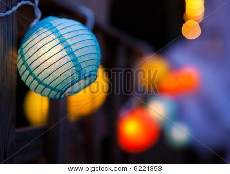 Small Coloured Paper Lanterns