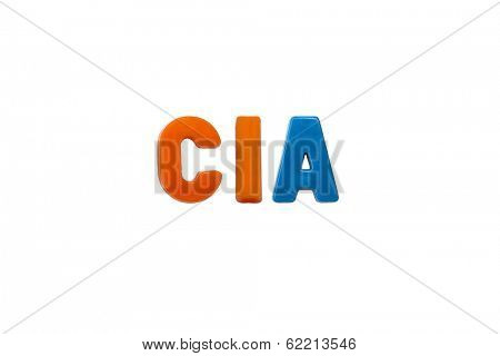 Letter magnets CIA isolated on white