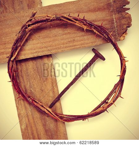 the Jesus Christ crown of thorns and the Holy Cross, with a retro effect poster