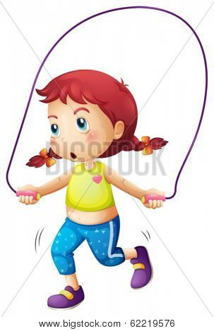 Illustration of a cute little girl playing skipping rope on a white background