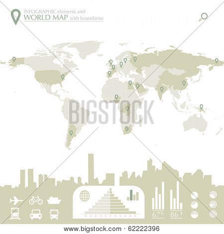 World map with countries and infographic elements in editable vector format