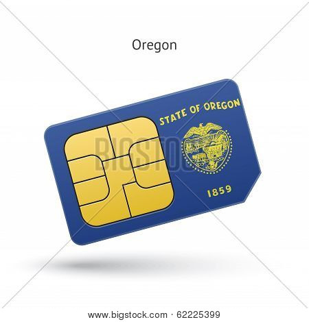 State of Oregon phone sim card with flag.