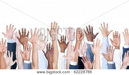 Diversity of Business Hands Raised