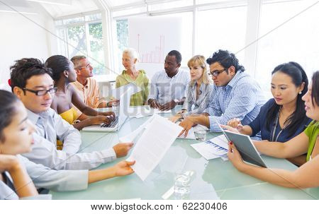 Diverse Business People Working Together in Office