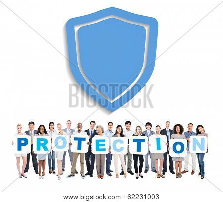 Anti Virus: Group of Multi-Ethnic Business People Holding PROTECTION