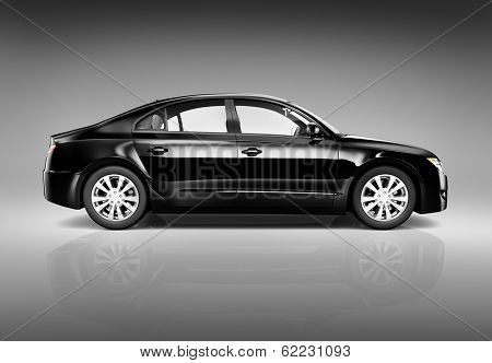 Three Dimensional Image of a Black Luxury Car