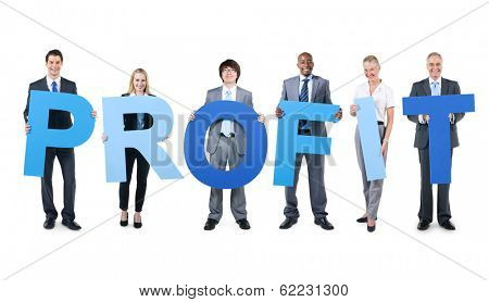 Group of Business People Holding The Word Profit