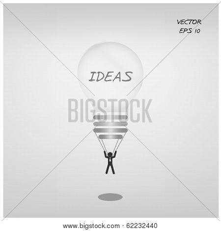light bulb parachute with businessman