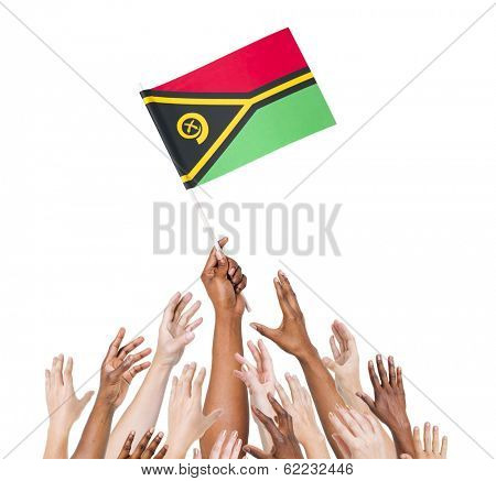 Diverse Multiethnic Hands Holding and Reaching For The Flag of Vanuatu