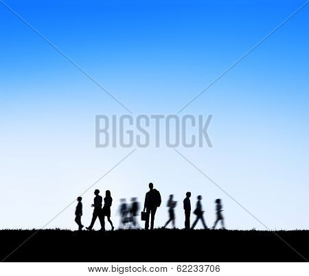 Group of Business People in Motion