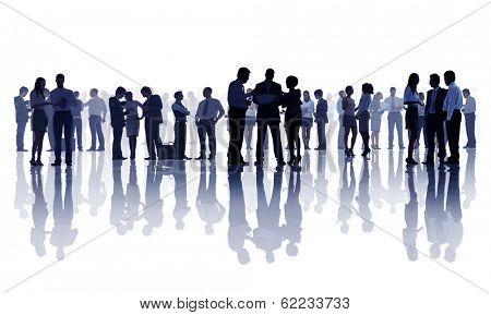 Silhouette of Group of Business People Discussing