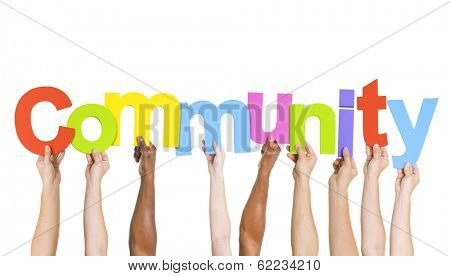 Multi Ethnic People Holding The Word Community