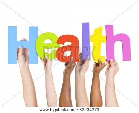 Multi-Ethnic Group of Diverse People Holding Letters To Form Health