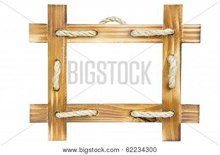 Empty Wooden Photo Frame Isolated On White Background