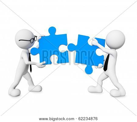 3D Morph Businessmen Connecting Jigsaw Puzzle