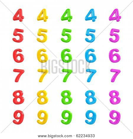 Colorful Numbers 3D Balloons 4-9