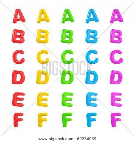Colorful Alphabet 3D Balloons A-F