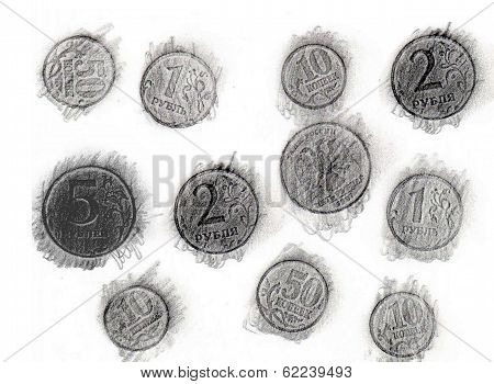 Print of coins a graphite pencil