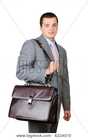 Manager and leather briefcase isolated on white