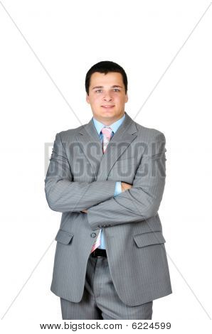Businessman standing confidently isolated on white