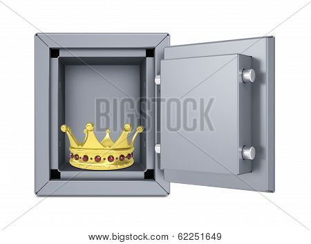 Gold crown in open safe