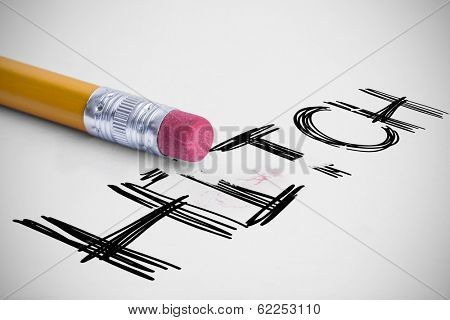 The word hitch against pencil with an eraser