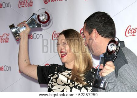 LOS ANGELES - MAR 27:  Drew Barrymore, Adam Sandler at the  CinemaCon 2014 Awards Gala at Caesars Palace on March 27, 2014 in Las Vegas, NV