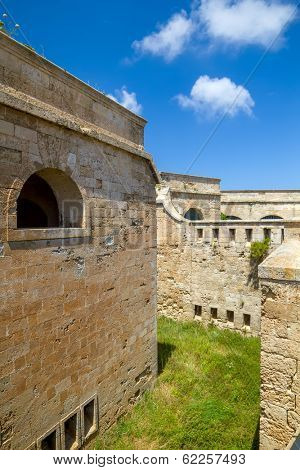 La Mola Fortress of Isabel II at Menorca island, Spain. It was built between 1850 and 1875 at the mouth of Mahon port.