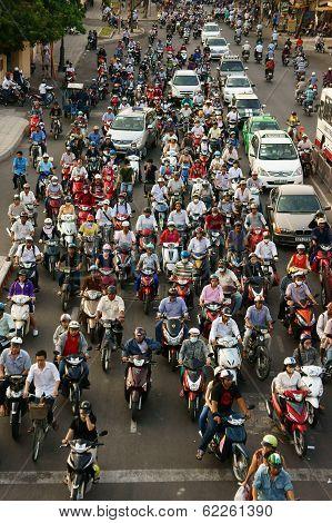 Urban Traffic, Air Polution, Exhaust Fumes, Vietnam