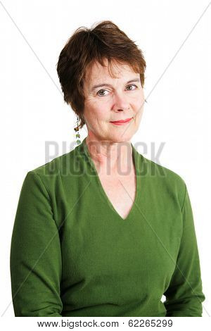 Portrait of a beautiful Irish-American woman in middle age.  Isolated on white.