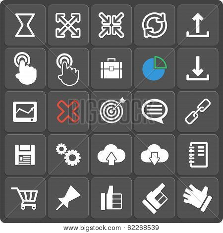 Set of 25 vector seo web and mobile icons in flat design. poster