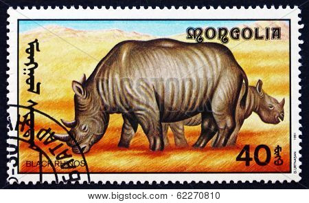 Postage Stamp Mongolia 1991 Black Rhinoceros, African Animal