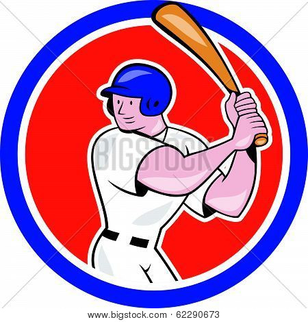 Baseball Player Batting Circle Side Cartoon