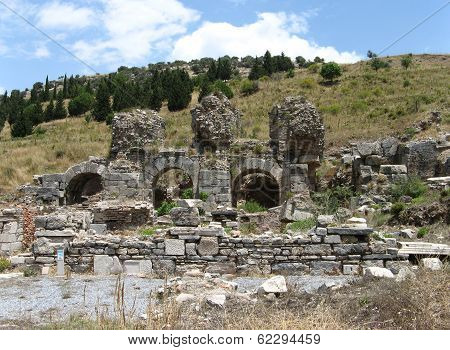 Varius baths in ancient city Ephesus Turkey poster