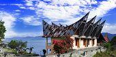 Batak Style House Panorama of Samosir Island. Lake Toba North Sumatra Indonesia. poster