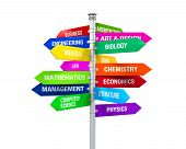 Colorful Direction Sign of Majors isolated on white background. 3D render poster
