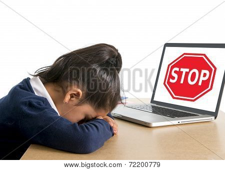 Hispanic Sweet Little School Girl Crying Suffering Internet Bullying Abuse