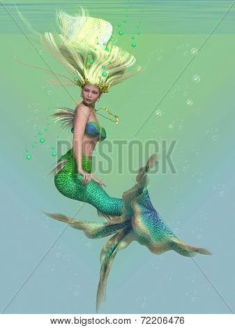 A mermaid is a fantasy sea creature with the upper body of a woman and the tail of a fish for swimming underwater. poster