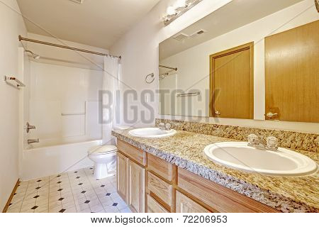 Bathroom Cabinet With Granite Top, Two Sinks And Mirror