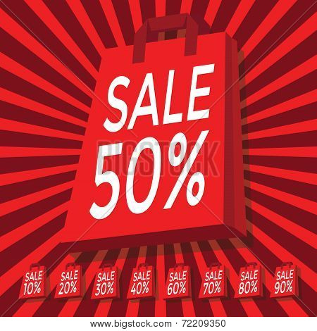 Sale 10 - 90 percent text on with red shopping bag