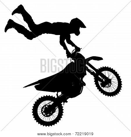 The Black silhouettes Motocross rider on a motorcycle.
