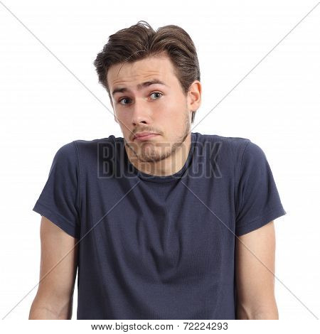 Front portrait of a young man doubting shrugging shoulders isolated on a white background poster