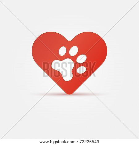Pet paw in red heart, animal love icon