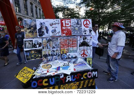 Literature table in front of Zuccotti Park