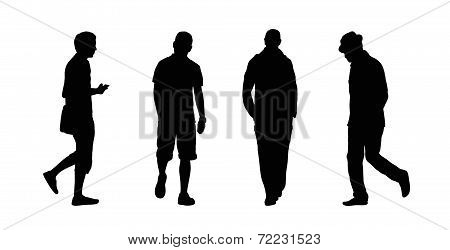 People Walking Outdoor Silhouettes Set 21