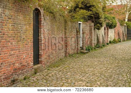 Characteristic medieval lane in the city of Veere in the Netherlands