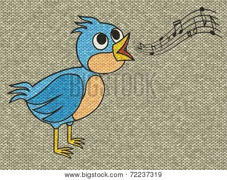 Singing Bird Relief Painting On Generated Knit Texture Backgroun
