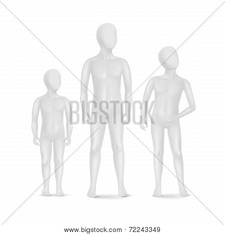 Vector Set of Three Child Mannequins Isolated on White Background poster